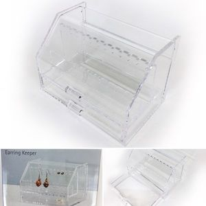 NEW Acrylic Jewelry Box With Earring Hangers